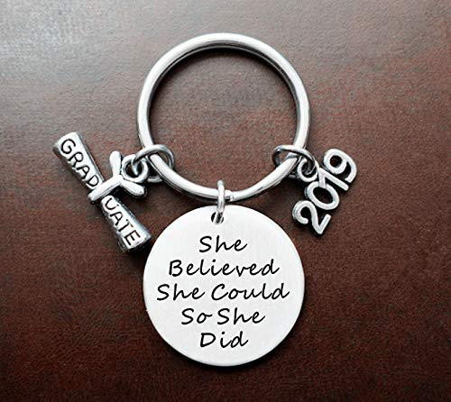 2019 Graduation Gift She Believed She Could So She Did Inspirational quote Diploma keychain,Class of 2019,Senior Year Gift, High School Graduation, College Graduation gift. ()