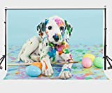 Lylycty 7×5ft Backdrop Colourful Dog Photography Background for Children Studio Props LYGE357