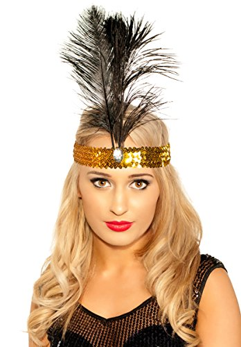 Elevate Costumes Deluxe Tall Feather 1920's Flapper Headband - Black and Gold (Flapper Deluxe Gold & Black Headband)
