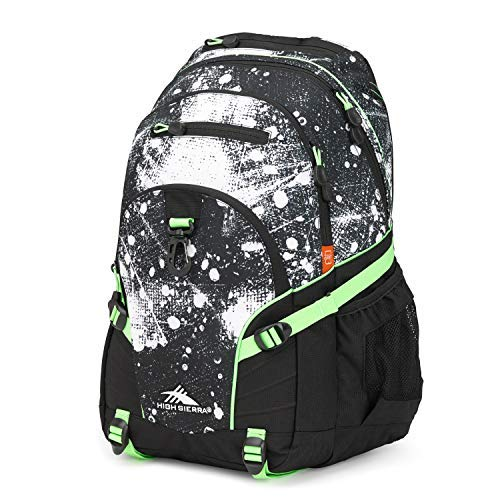 High Sierra Loop Backpack for Men and Women, Compact Bookbag Backpack for College Students or Business Professionals (Street Art/Black/Lime)