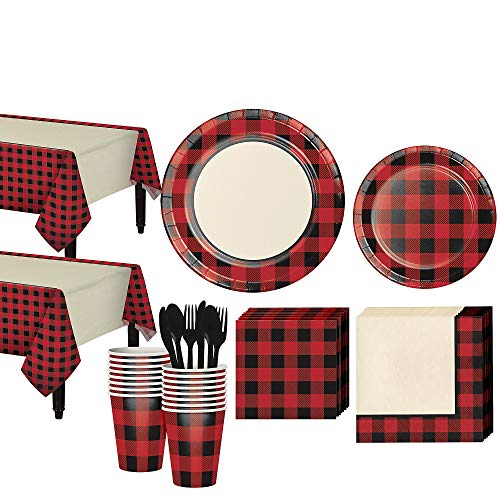 Party City Buffalo Plaid Tableware Kit for 32 Guests, Includes Table Covers, Plates, Cups and More