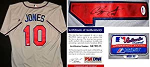 Signed Chipper Jones Jersey - Majestic Grey Certificate of Authenticity COA) - PSA/DNA Certified - Autographed MLB Jerseys