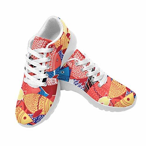 D-story, Jogging, Esecuzione, Sneaker, Seamless, Modello, Di, Colorito, Fish, Donna, Casuale, Sport, Sportivo, Camminare, Scarpe Da Corsa, Bianco