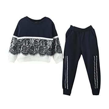 61486be12 Amazon.com  2Pcs Newborn Baby Girl Fall Clothes Lace Pullover ...