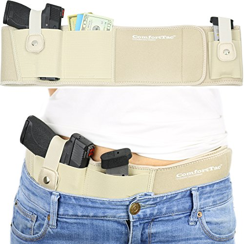 Ultimate Belly Band Holster for Concealed Carry | Nude | Fits Gun Smith and Wesson Bodyguard, Shield, Glock 19, 17, 42, 43, P238, Ruger LCP, and Similar Sized Guns | For Men and Women (Right)