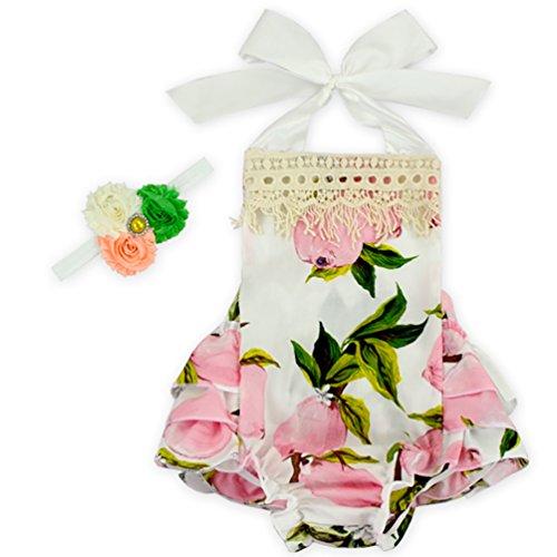 D.LIN Baby Girl's Ruffles Romper Dresses+Headband Summer Clothing Flower 4 S/ 6 Months (Pink Leopard Infant Costume)