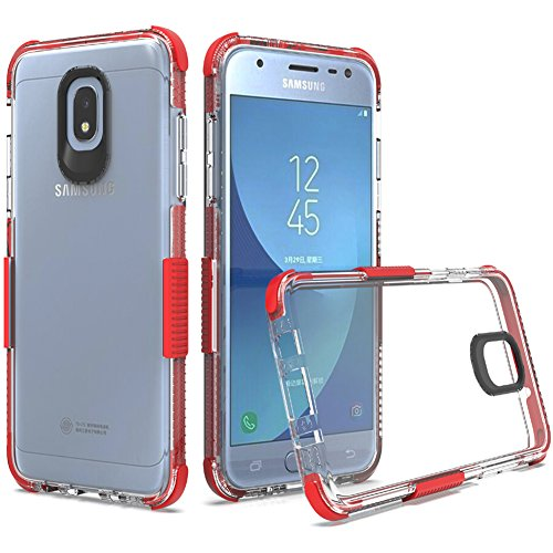 Samsung Galaxy J3 2018 Case, J3V 3rd Gen Case, Express Prime 3/J3 Star/Amp Prime 3/J3 Achieve Case, Dretal Shock Absorption TPU Protective Cover Case (Clear Red) (Red Phone Skin Case Clear)
