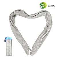 Newild Cooling Towel (110 cm x 30 cm), Perfect For Sports,Yoga, Workout, Fitness, Gym, Pilates, Travel, Camping and More,With Waterproof Bottle Package (Color: Gray)