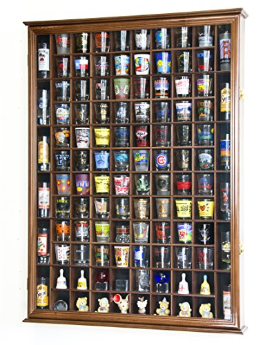 - 108 Shot Glass Shooter Display Case Holder Cabinet Wall Rack w/ UV Protection -Walnut