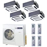 Blueridge 21 SEER Four Zone 42,000 BTU Ductless Mini Split Heat Pump (4) 12k ceiling units