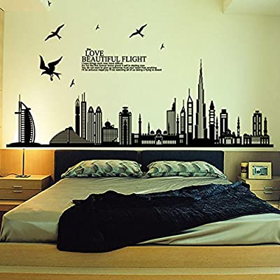 Removable Wall Civic Landscape Stickers Big Wall Stickers Living Room Bedroom Decoration Wall Stickers Removable Dubai Wall Stickers