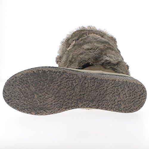 Botas de cuña taupe a tacón de 2,5 cm de peluche