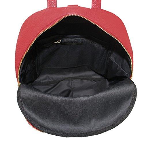 Zaino Donna Sibilla Borsa in Vera Pelle Martellata Made in Italy Maison Bag 28x35x14 cm Rosso