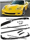 #4: ZR1 Style Carbon Fiber Front Bumper Lower Lip Splitter + Side Skirts Rocker Panels + Rear Spoiler W/ Hardware For 05-13 Chevrolet Corvette C6 Z06 | Grand Sport | ZR1 05 06 07 08 09 10 11 12 13