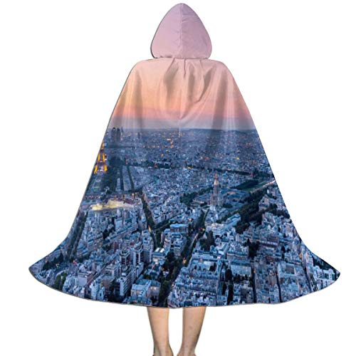 Hooded Cloak Cape Bonjour Paris Eiffel Tower Trendy Party Vampires Cosplay for Kids Girls Boys