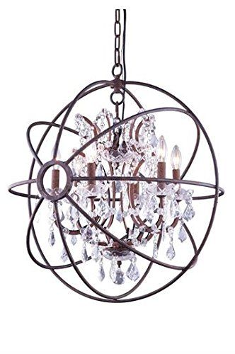 Metro Rustic Iron Modern 6-Light Hanging Chandelier Heirloom Handcut Crystal in Crystal (Clear)-800D25RI-RC–25″ W/D
