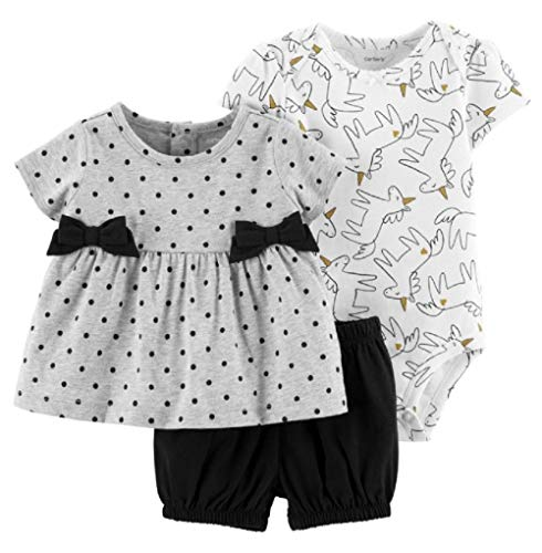 Carter's 3-Piece Unicorn Little Short Set (9 Months) Black/Gray