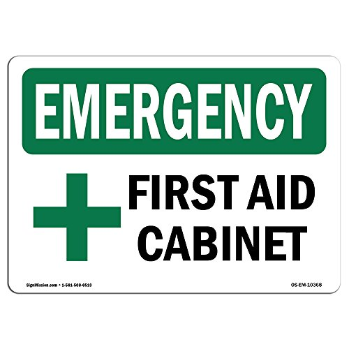 OSHA Emergency Sign - First Aid Cabinet with Symbol | Rigid Plastic Sign | Protect Your Business, Construction Site, Warehouse & Shop Area |  Made in The USA ()