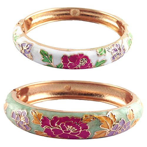 UJOY Bracelet Bangles Gold Plated Gorgeous Handcraft Cloisonne Peony Flower Enameled Gifts Jewelry Box Packed 55C48 Green White