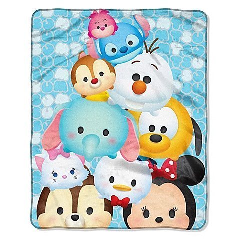 Disney Tsum Tsum All in Blue Royal Plush Raschel Fuzzy Fleece Throw Blanket