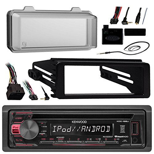 Kenwood KDC168U Radio USB AUX CD Player Receiver W/ Cover - Bundle With Install Dash Kit + Handle Bar Control + Enrock Antenna for 98 2013 Harley Touring Flht Flhx Flhtc Motorcycle Bike by Enrock Motorcycle Bundle (Image #1)