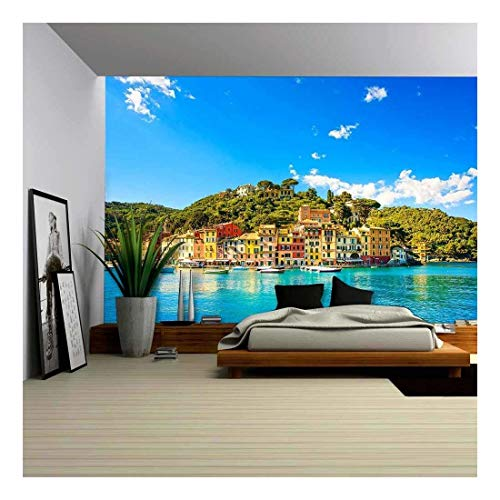wall26 - Portofino Luxury Landmark Panorama Village and Yacht in Little Bay Harbor Liguria, Italy - Removable Wall Mural | Self-Adhesive Large Wallpaper - 66x96 inches