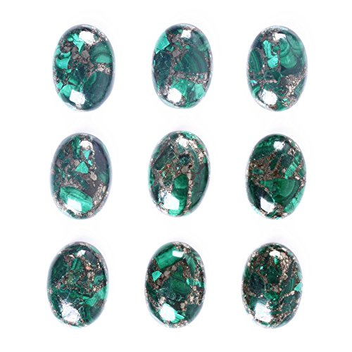 Wholesale 25mm Oval cabochon CAB flatback semi-precious gemstone 5pcs (Pyrite malachite) (Oval Malachite)
