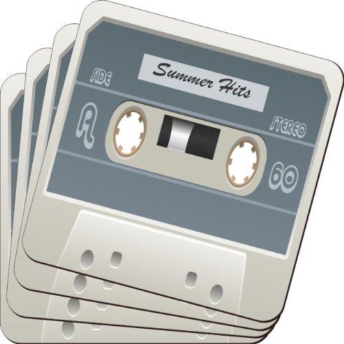 Rikki Knight Cassette Tape White Summer Hits Design Soft Square Beer Coasters (Set of 2), Multicolor (Soft Cassette)