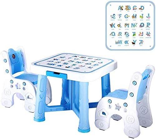 CTC Juego de mesa y silla para niños, sala de juegos multifunción/guardería/muebles para preescolar/jardín de infantes, adecuado para niños de 2 a 10 años/Azul / 1 mesa 2 sillas: Amazon.es: Bricolaje y