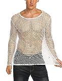 Coofandy Mens Fishnet See-through Long Sleeves Club Wear Sexy Mesh Shirt,White,Large