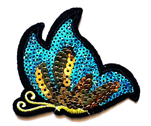 Nipitshop Patches Beautiful butterfly Blue Sequin cartoon kids for Clothes Backpacks T-shirt Jeans Skirt vests scarf Hat Bag