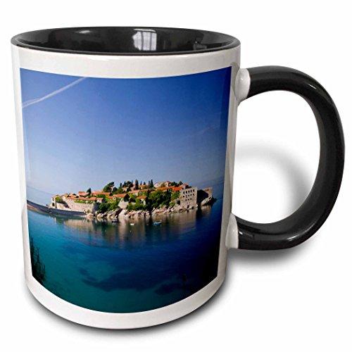 3Drose Montenegro  Sveti Stefan  Coastal Resort Island Eu47 Wbi0210 Walter Bibikow Two Tone Black Mug  11 Oz  Black White