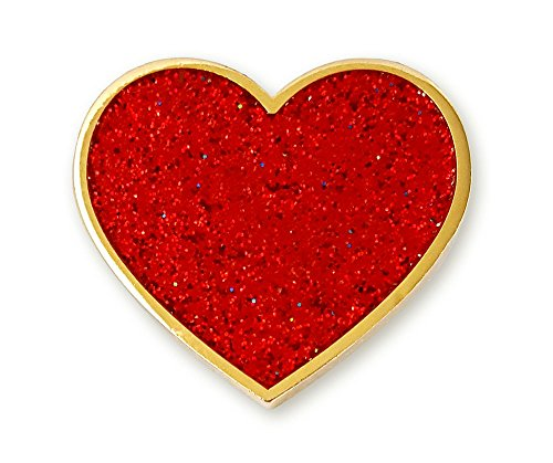 Pinsanity Red Valentine's Day Glitter Heart Enamel Lapel Pin