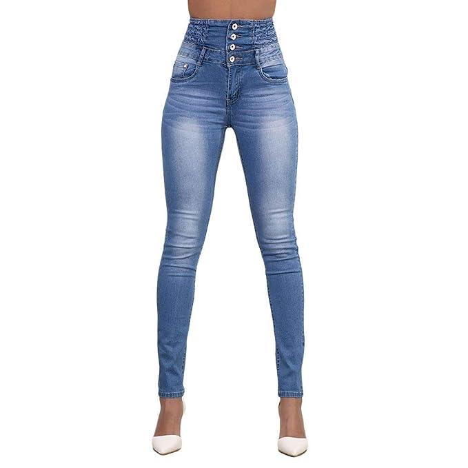 Pantalones Vaqueros De Las Mujeres Moda Color De Lápiz ...