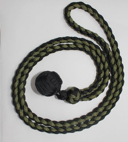 """SENC 550 Paracord Expandable Monkey Fist 1 1/4"""" Steel Core Expands 18"""" to 30"""" - Black/OD Green"""