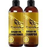 Argan Oil Shampoo and Conditioner Set - Sulfate Free All Natural Hair Repair Treatment, Clarifying Volumizing & Moisturizing, Color Safe, Gentle for Curly & Color Treated Hair Gift Set (2x 8oz)