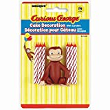 Unique Curious George Cake Topper with 6 Birthday Candles