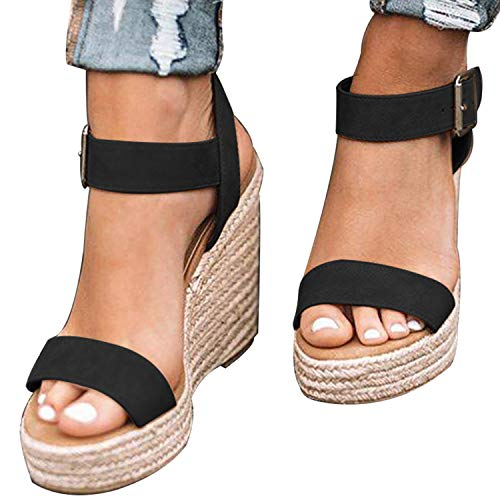 XMWEALTHY Women's Wedge Sandals Casual Sandals Shoes Summer Ankle Buckle Open Toe Wedges Heels US Size 8.5 Black ()