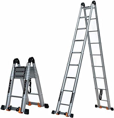 Escalera Telescópica Escalera Telescopica Plegable Escalera de Ingeniería Multifunción Escaleras elevadoras - Carga pesada 150 kg - Escaleras con ruedas Escalera extensible de aleación de aluminio par: Amazon.es: Hogar
