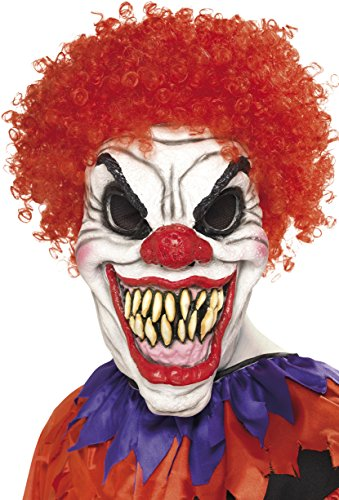 Clown Halloween Costume Uk (Smiffy's Men's Scary Clown Mask, White & Red, One Size, 35710)