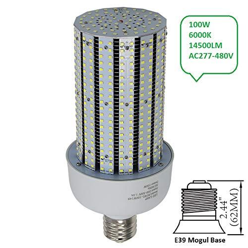 - 480Volt LED Corn Cob Bulb 100W Replace 400W Dusk to Dawn Security Yard Light E39 Mogul Base 6000K Daylight AC200-500V
