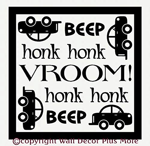 Beep Honk Vroom with Car Black Wall Decals Decor Vinyl Sticker SK15878 ()