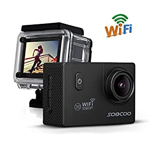 "WIFI Action Camera, SOOCOO C10S Waterproof Action Camera 12MP FHD 1080P - 2.0"" LCD Screen, 170 Degree Wide Angle Lens, 30M/98ft Underwater Diving Camera with 2 Batteries - (Micro SD Card Not Included)"