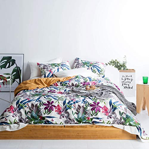SUSYBAO 3 Pieces Duvet Cover Set 100% Egyptian Cotton Sateen Queen Size Tropical Floral Print Bedding with Zipper Ties 1…