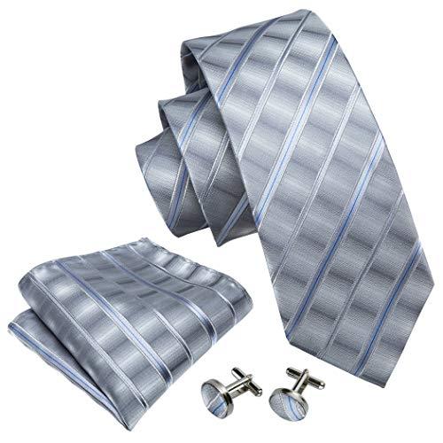 Men Tie Set Silk Grey Stripe Neckties Pocket Square Cufflinks