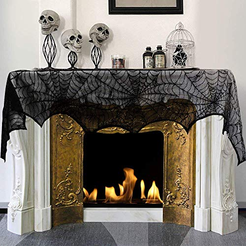 18 x 96 inch Cobweb Fireplace Scarf, Mysterious Lace SpiderWeb Mantle Lace Runner, Fireplace Scarf Festive Supplies for Halloween Christmas Party Door Window Decoration Black