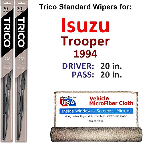 Wiper Blades for 1994 Isuzu Trooper Driver & Passenger Trico Steel Wipers Set of 2 Bundled with Bonus MicroFiber Interior Car Cloth