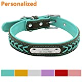 LaReine™ Personalized Leather Dog Collar, Braided Soft Leather Name Plated Dog Collars for Small Medium Large, Custom Engraved On Collar Pet ID Tags for Cat and Dog [ XS, S, M, L, XL ] Blue