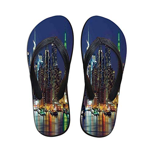 New York Modern Flip Flops,NYC Midtown Skyline in Evening Skyscrapers Amazing Metropolis City States Photo for Party & House & Other Events,US Size 10 ()