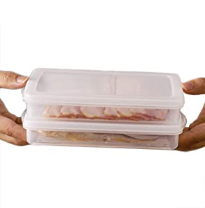 2 Pack-Plastic Bacon Storage Containers with lids airtight Cold Cuts Cheese Deli Meat Saver Food Storage Container for Refrigerators,Freezer, Lunch Box Cookie Holder meal prep container